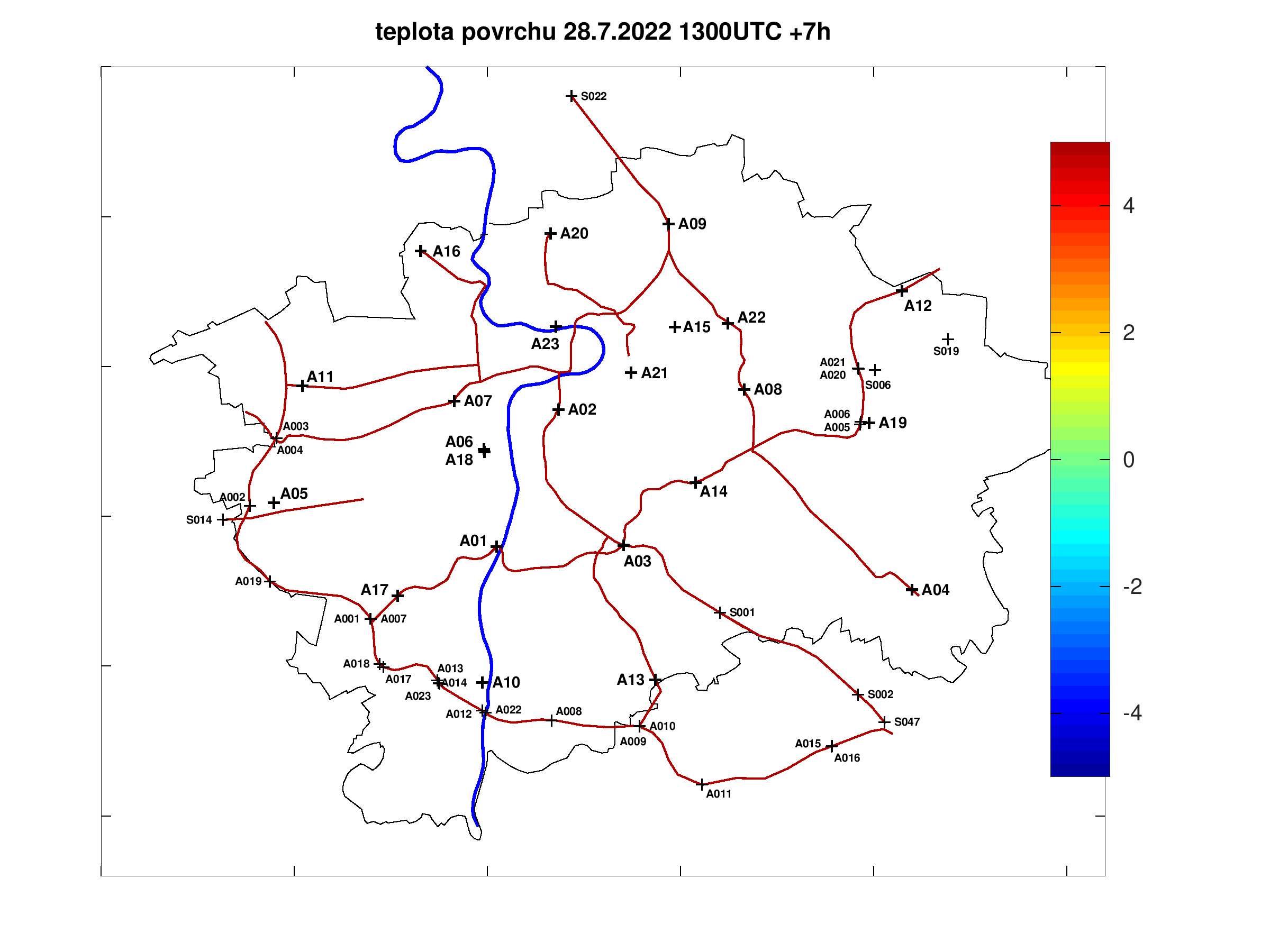 Road surface teperature forecast for Prague +7h
